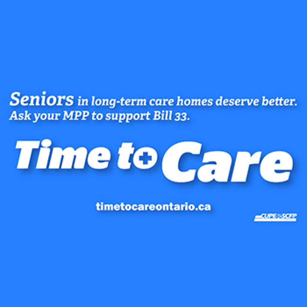 Make care better, safer for long-term care residents, support legislation for a 4 hour standard: Ontario MPPs urged
