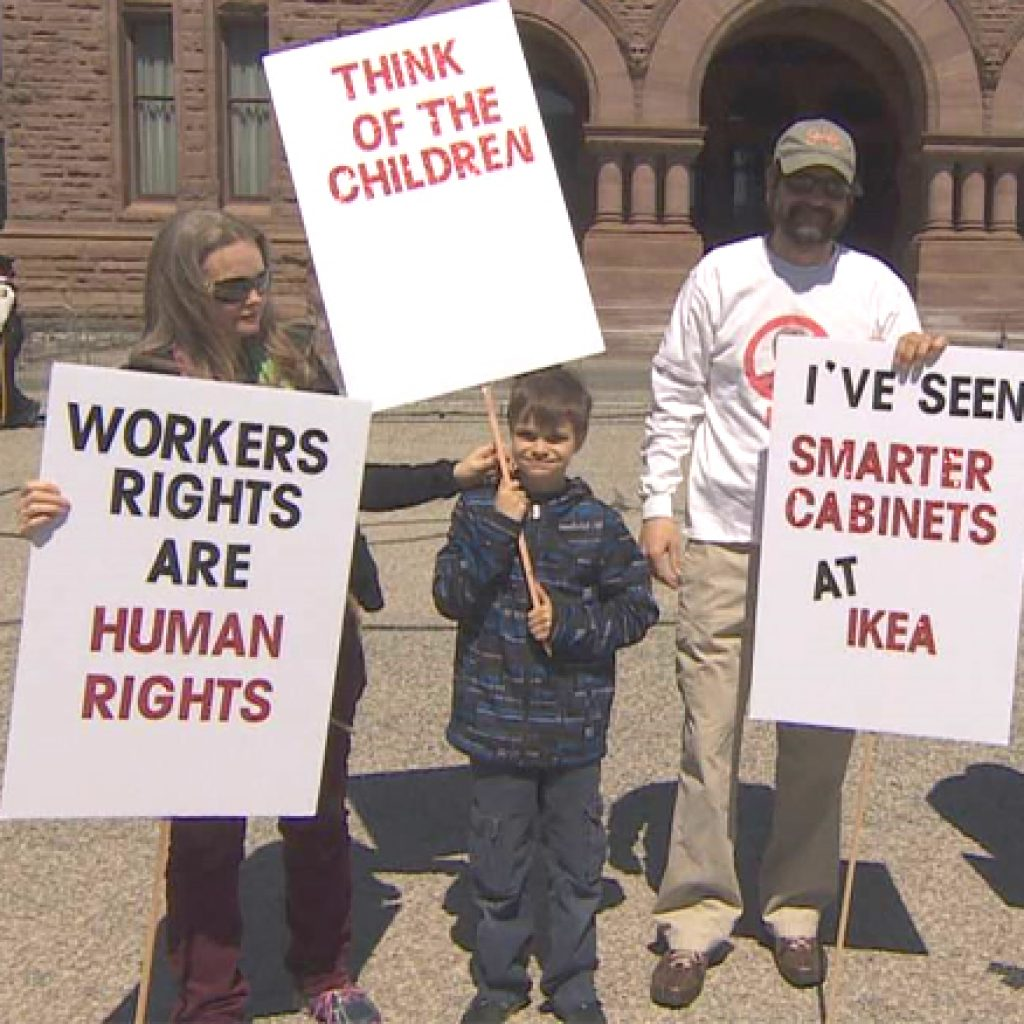 Dozens of auto workers protest new labour laws in Toronto