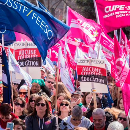 Unions hold rally at Ontario legislature to protest education cuts
