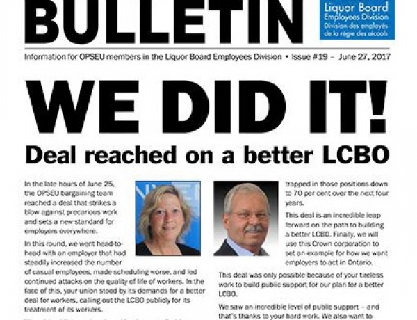 We did it! Deal reached on a better LCBO- 2017 LBED Bargaining Bulletin #19