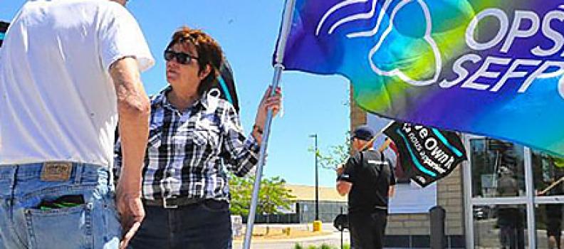 Union pickets outside Simcoe LCBO
